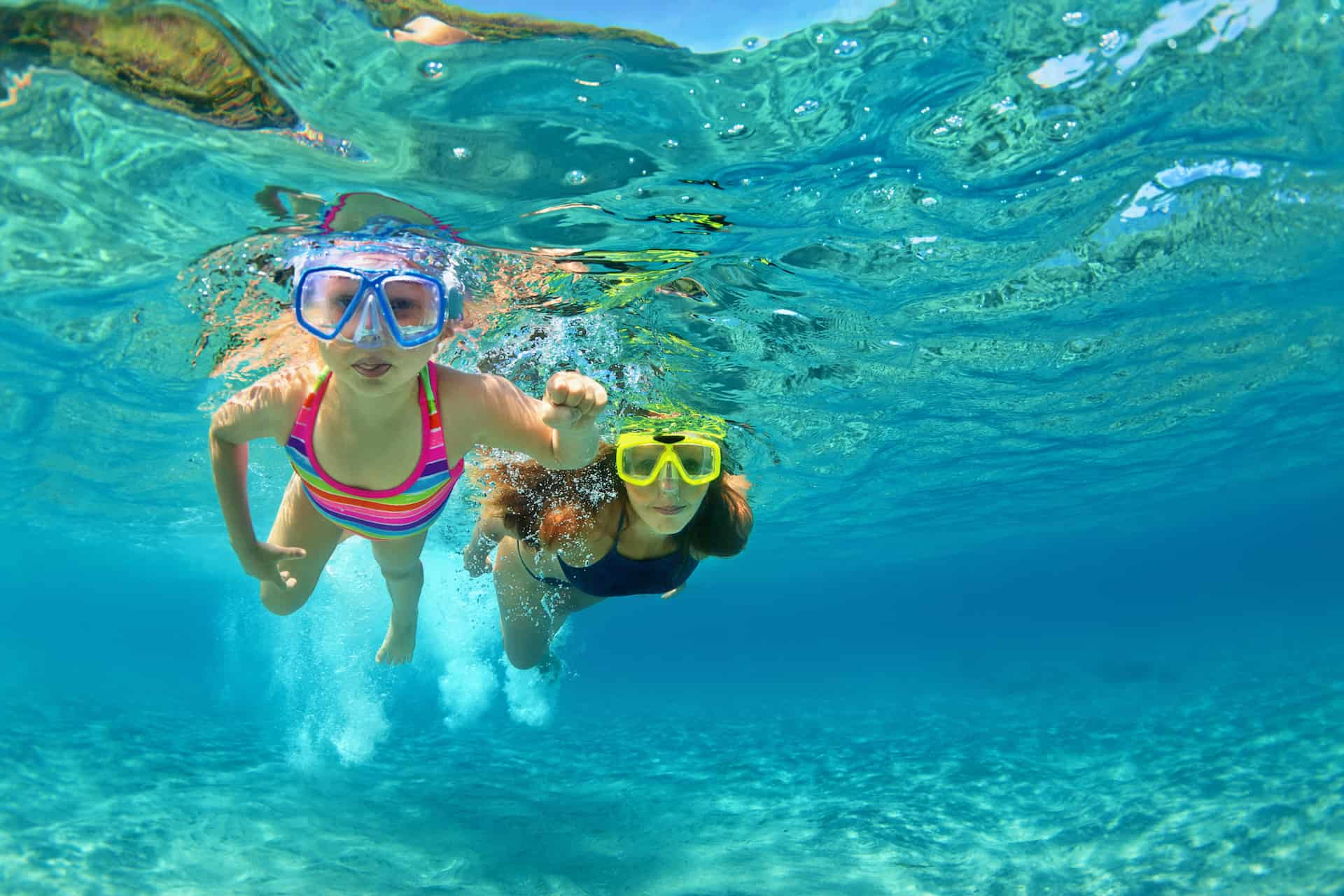 Kids Snorkeling on a Crewed Yacht Charter
