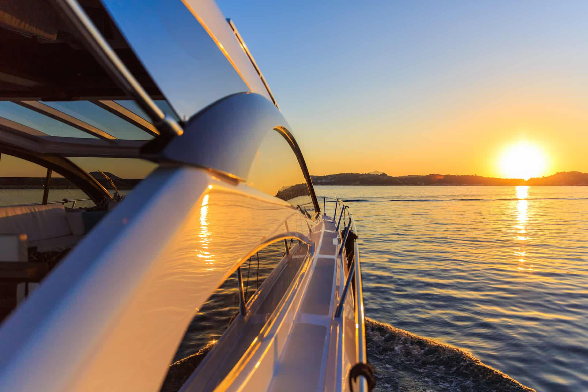 Sunset from a Luxury Motor Yacht