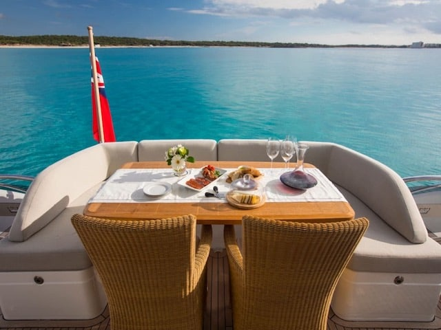 Motor Yacht Charters dining on deck